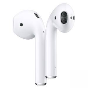 Слушалки Apple AirPods 2 с кутия за безжично зареждане (Apple AirPods2 with Wireless Charging Case), бял, MRXJ2ZM/A