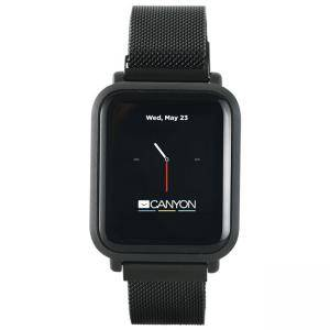 Смарт часовник Canyon CNS-SW73BB, 1.22 инча LCD, IPS full touch, 6H Glass,2 straps, metal strap and silicon strap, IP68