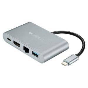 Докинг станция Canyon CNS-TDS04DG, Ethernet/Audio-Out/HDMI/USB 3.0, Space Gray