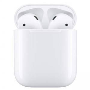 Блутут слушалки-тапи Apple AirPods 2Gen, с докинг кутийка, Wireless, Бели, APPLE-MV7N2ZM-A