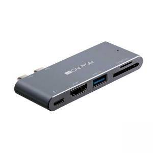 Докинг станция 5-в-1 Canyon, Multiport, Thunderbolt 3, HDMI, USB, Card Reader (SD), Space Gray, CNS-TDS05DG