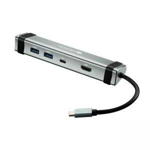 USB Хъб 4-in-1 Canyon, Multiport, 1 x Type C (male) + 1 x Type C (female) + 2 x USB3.0 + 1 x HDMI, CNS-TDS03DG