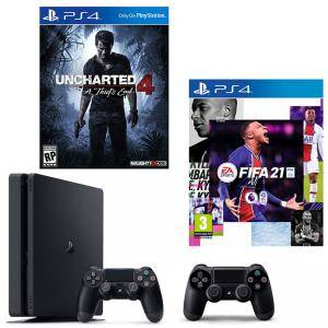 Конзола PlayStation 4 Slim 500GB Black, Sony PS4 + ИГРА Electronic Arts FIFA 21 (PS4) + Игра Uncharted 4: A Thief's End за PS4 + Геймпад - Sony PlayStation DualShock 4 Wireless, версия 2, черен Black
