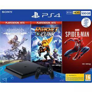 Конзола Sony PlayStation 4 Slim 500GB, jet black + Horizon: Zero Dawn (Complete Edition) + Ratchet & Clank + Spider-Man
